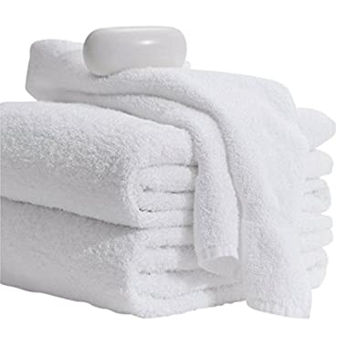 MIMAATEX Basic Towels-20x40 inches-6 Pack-White-100% Cotton- Hair/Pool/Gym Multipurpose Quick Drying Light and Soft Towels