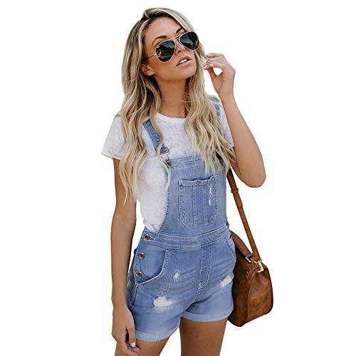 Fandecie Casual Jeans Latzhose für Frauen Sommer Stretch Denim Baumwolle Kurze Latzhose Overalls