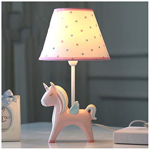 Lámpara de Mesa Unicornio de Dibujos Animados - Cuidado de los Ojos en la habitación Infantil cálida y Encantadora (Platos de Color Rosa)