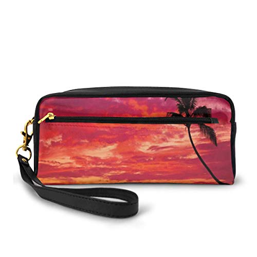 Pencil Case Pen Bag Pouch Stationary,Sunset View from A Tropical Island Beach with Silhouette of Palm Tree on The Shore Art Print,Small Makeup Bag Coin Purse
