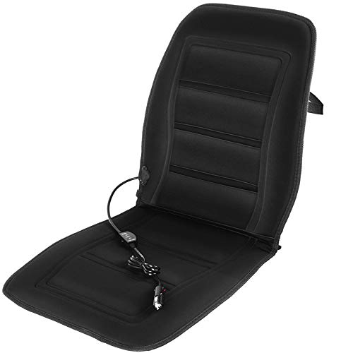 Motorup America 12V Heated Auto Seat Cover Cushion - Soft Velour Ultra Plush Warmer with High/Low/Off Heater Temperature Switch Control Heat