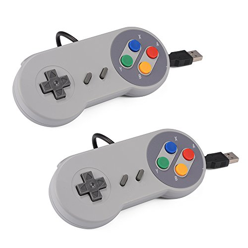 XCSOURCE 2pcs Snes Classico USB Super Game Controller Gamepad della Barra di Comando per Windows PC/Mac AC560
