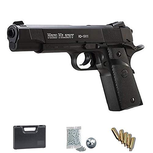 Set Gamo Red Alert RD 1911 - Pistola de Aire comprimido + maletín y Accesorios. Arma de CO2 de balines (perdigones BB's de Acero) Cal 4.5mm <3,5J