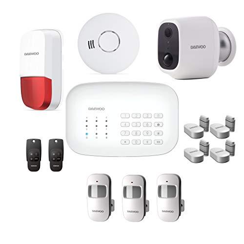 DAEWOO Pack Alarme WiFi GSM - Modèle Protection Livré avec 12 Accessoires, 1 Caméra Et 1 Sirène