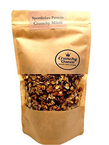 Crunchy Queen Sportliches-Protein Crunchy Granola Müsli ohne raffinierten Zucker und vegan (340g)
