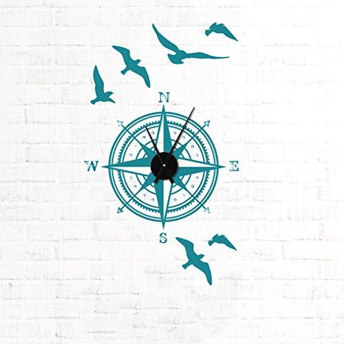 tjapalo® TKU6 Wanduhr Tattoo Wohnzimmer Flur Wandaufkleber Kompass Vögel Wandtattoo Uhr mit Uhrwerk Reisen Abenteuer, Größe: H83xB58cm (+Uhrwerk schwarz), Farbe: braun