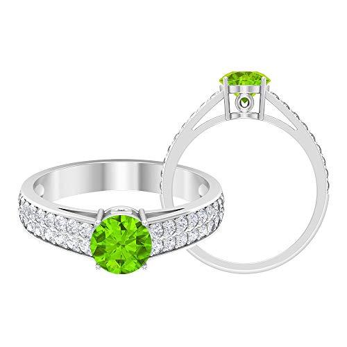 6 mm Lab Created Kryptonit Ring, D-VSSI Moissanit Goldring, Verlobungsring mit Rundschliff, Solitärring mit Seitenstein, 18K Weißes Gold, Size:EU 46