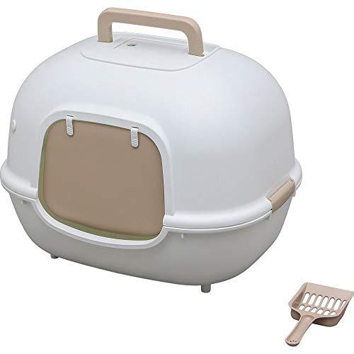 アイリスオーヤマ 猫用トイレ本体 脱臭ワイド猫トイレ (フルカバー スコップ付き) ホワイト 大型