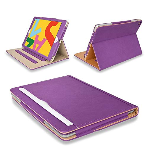 MOFRED Purple & Tan Apple iPad Executive Leather Case for Apple iPad 10.2 (2019/2020) Voted by 'The Daily Telegraph' as #1 iPad Case! (iPad Models A2200,A2197,A2198)