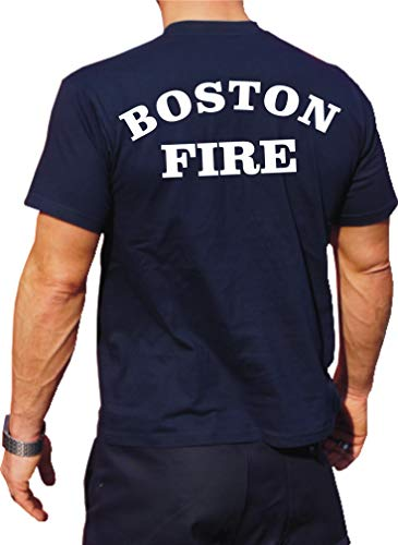 feuer1 T-shirt fonctionnel Navy avec protection UV 30 + Boston Fire Dept XXL bleu marine