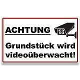 """ENDJO Warnschild Videoüberwachung - Schild """"Achtung, Grundstück Wird videoüberwacht!"""" - Hinweisschild zur Kameraüberwachung - 30 x 18 cm, 3 mm stark (Aluminium mit Klebestreifen)"""