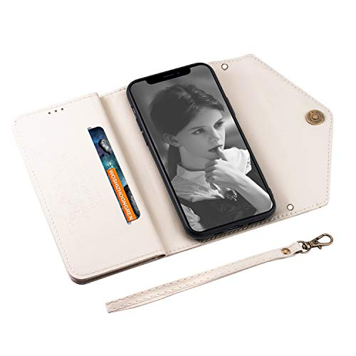 UKDANDANWEI iPhone 11 Pro Max Case, PU Leather Flip Case Dual Folio Card Slot Sleeve Housing with Wrist Strap Magnetic Stand Case Cover for iPhone 11 Pro Max -White