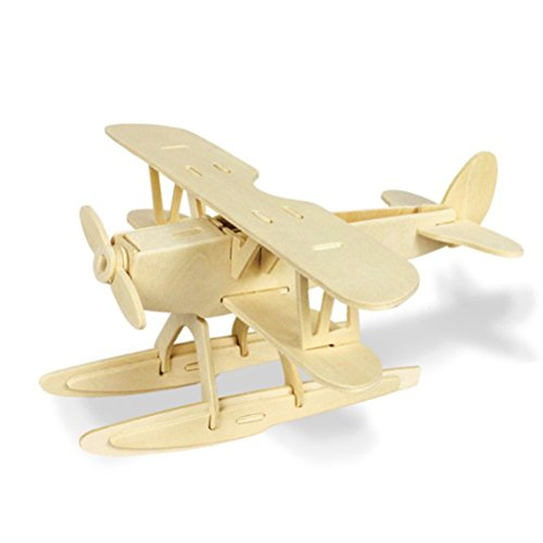 TOYMYTOY 3D Holzbausatz Holzpuzzle Kinder Modellbau Holz Bausatz zum Zusammenstecken Pädagogisches Spielzeug Geschenk (Flugzeug)