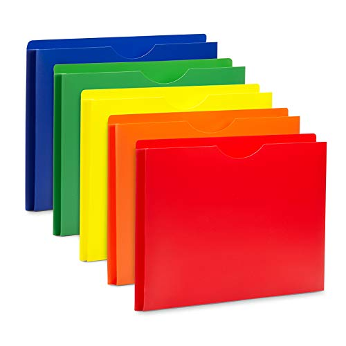 """Blue Summit Supplies Poly File Jackets, Letter Size, Straight Cut Tab, Expandable File Jackets with 1"""" Expanding Pocket, Colored Plastic, Assorted Colors, 20 Pack"""