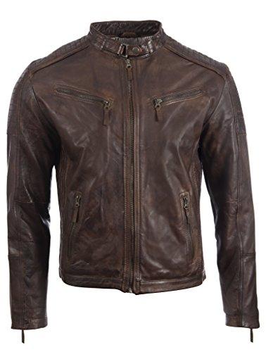 Aviatrix Herren Echtleder Biker Jacke mit Seitenstich und Schulter Detail (VO3W)- Gr. 3XL / Brust=45 zoll, Nevada Braun