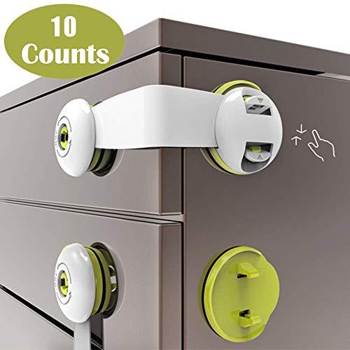 Child Safety Locks, Flow.month 10 Pack Child Safety Cupboard Locks, No...