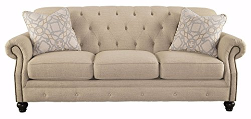 Signature Design by Ashley - Kieran Traditional Upholstered Sofa w/ 2 Pillows, Beige