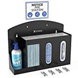 Sanitizing Station Dispenser Stand for Masks, Gloves, and Sanitizer Hand Gel, Business, Gym, Office, and Classroom Sanitation, Wall Mounted Organizer with PPE Notice Sign