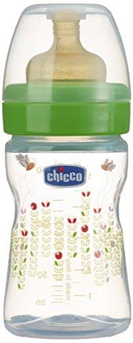 Chicco 7075000 Benessere Biberon, Flusso Normale, Caucciù, Bianco/Verde, 150 ml