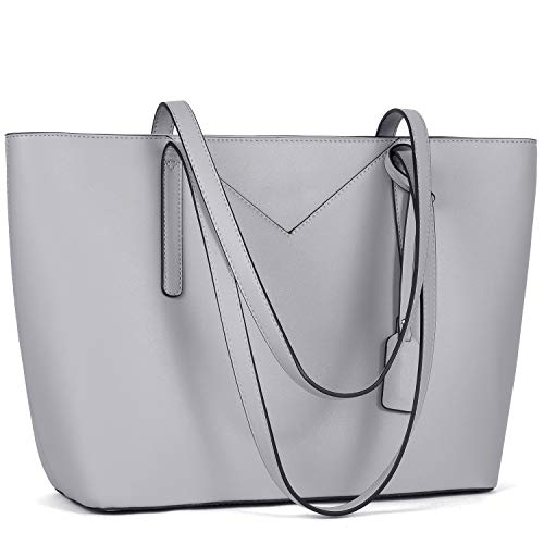 BROMEN Women Handbags Designer Leather Tote Purse Large Capacity Purses and Handbags Shoulder Bag Grey