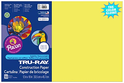 "Tru-Ray Heavyweight Construction Paper, Lively Lemon,  12"" x 18"", 50 Sheets Photo #1"