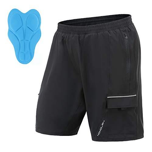 Nomolen Men#039s Mountain Bike Shorts 3D Padded Lightweight Waterproof MTB Cycling Shorts LooseFit Bike Shorts Black