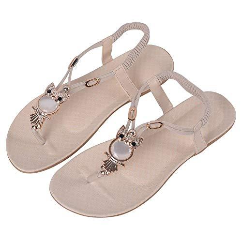 COCNI Scarpe Sandalo creativo strass Thong sandali degli appartamenti delle donne Gufo Scarpe moda selvaggia Muffin di Boemia donne moderne for il tempo libero Flip Flop sandali in rilievo della spiag