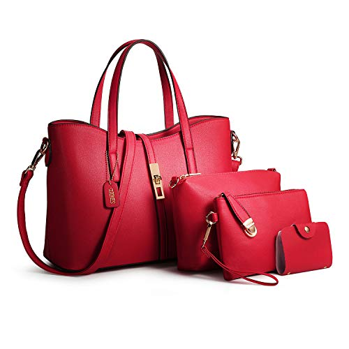 Tibes Fashion Top-handle Handbag+Shoulder Bag+Purse+Card Holder 4pcs Set Tote Wine Red
