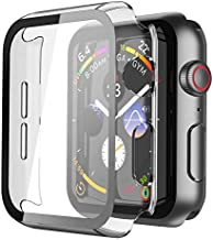 Misxi Transparent Hard Case Compatible with Apple Watch Series 6 SE Series 5 Series 4 40mm, Hard PC Case Slim Tempered Glass Screen Protector Overall Protective Cover for iwatch