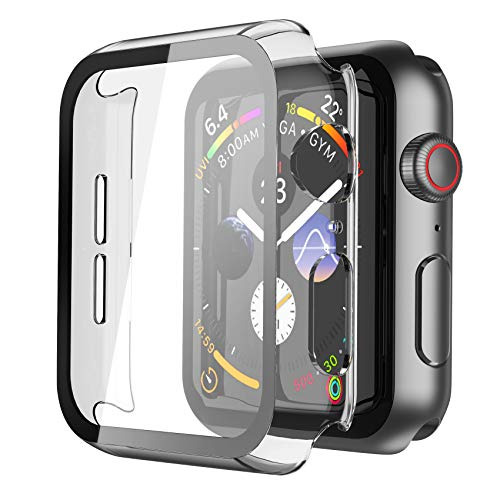 Misxi 2 Pack Hard PC Case with Tempered Glass Screen Protector Compatible with Apple Watch Series 6 SE Series 5 Series 4 44mm, Transparent