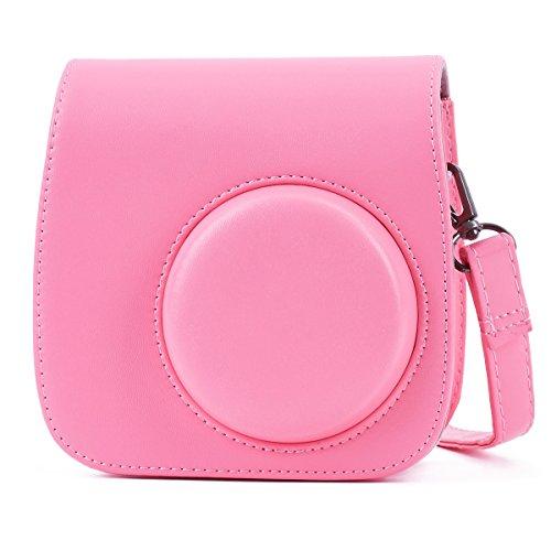 Leebotree Funda Compatible con Instax Mini 9 / Mini 8 8+ Cámara Instantánea, Bolsa de Transporte Fabricada en Cuero, Dispone de Una Correa de Proteger y Bolsillo (Flamingo Rosa)