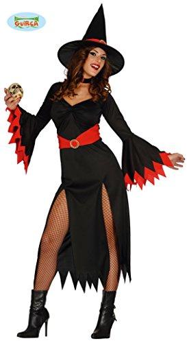 langes sexy Hexen Kleid Karneval Halloween Kostüm Damen schwarz rot Gr. M - L, Größe:M