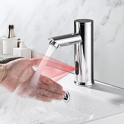 Rubinetto Automatico con Sensore ad Infrarossi, Bagno Miscelatore Lavabo Touchless,Rubinetto Bagno Lavabo acqua Fredda con Sensore Automatico