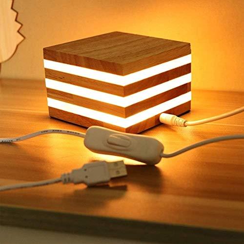 ZYCH Dormitorio Lámpara Mesita de Noche Nueva Zelanda Flojo Madera USB Nocturna para Sala de Estar Dormitorio Comedor Festival Regalo Mejor Ligero (Color : A)