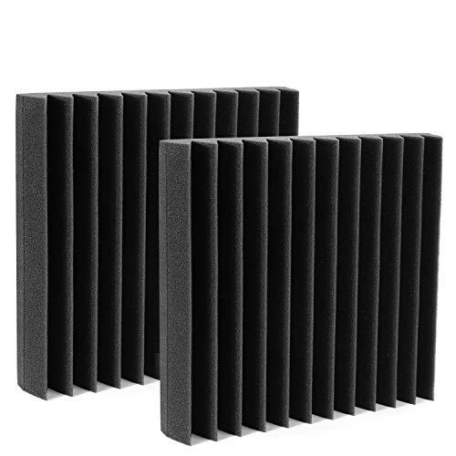 AGPtEK Espuma acústica, 12 espumas insonorizadoras autoadhesivas de 30.5*30.5*5 CM, paneles a prueba de ruido, ideales para casa, estudios de grabación, salas de TV, oficinas.