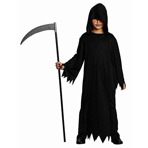 NET TOYS Schwarze Kutte Halloween Gewand Kinder 152 cm 10-12 Jahre Sensenmann Kostüm Geist Mittelalter Mönchskutte Henker Umhang Gevatter Tod Grim Reaper Robe Karneval Kostüme