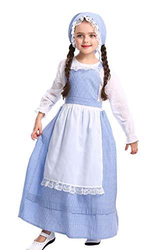 DEMU Kinder viktorianischen Maid Kostüm Mädchen Vintage Dienstmädchen Dienstmagd mit Schürze und Mütze L(140-155)