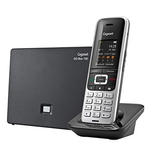 Gigaset S850A GO - Analog & DECT-Telefon schnurlos mit Anrufbeantworter - Headsetanschluss und Reichweitenwarnton - exzellente Klangqualität (auch beim Freisprechen), platin-schwarz