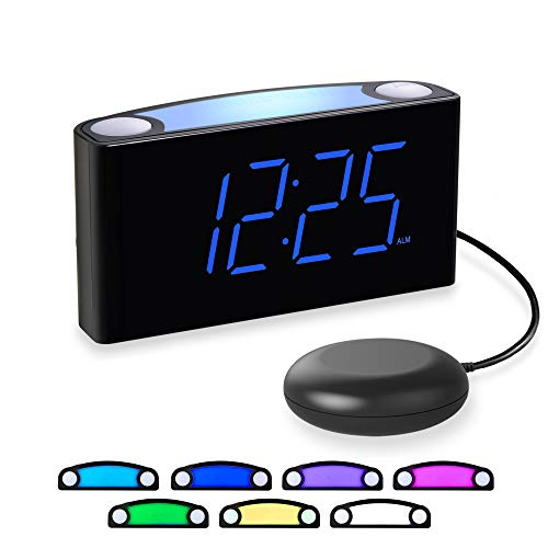 Loud Alarm Clock for Heavy Sleepers, Vibrating Alarm Clock with Bed Shaker, LED Digital Clock with 7...