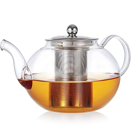 Teabloom Florence Glass Teapot – Durable Borosilicate Glass with Removable Stainless Infuser – Stovetop Safe – Tea for One or Two – 24 oz / 700 ml 2 Cups