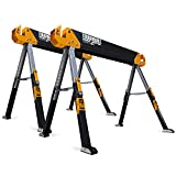 ToughBuilt - Folding Sawhorse/Jobsite Table - Sturdy, Durable, Lightweight, Heavy-Duty, 100% High Grade Steel, 1300lb Capacity, Pivoting Feet, Adjustable Height Legs - (TB-C650) - 2 Pack