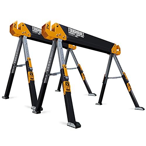 ToughBuilt - Folding Sawhorse/Jobsite Table - Sturdy, Durable, Lightweight, Heavy-Duty, 100% High...