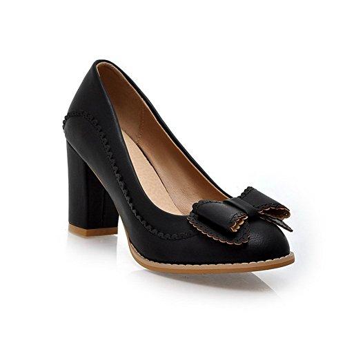 CosyFever Zapatos de Tacón Chunky Medio conPajarita Ponerse Punta Redonda DC6 para Mujeres Negro - 40 EU