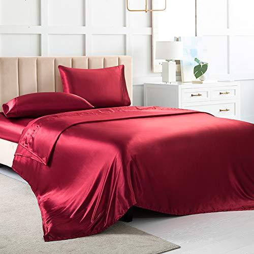 Satin-Bettlaken, Cal King Size, weiche Seide, rotes Seidentuch mit 1 tiefen Spannbetttuch, 1 Bettlaken und 2 seidigen Satin-Kissenbezügen