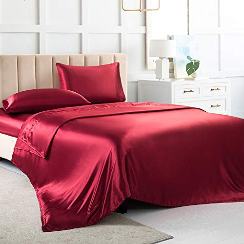 Satin Sheets Queen, Soft Silk Bed Sheets, Red Silk Sheet with 1 Deep Pocket Fitted Sheet & 1 Flat Sheet & 2 Silky Satin Pillowcases