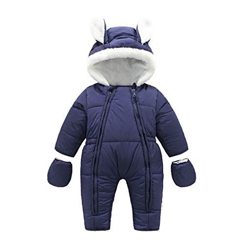 Vine Baby Schneeanzug Strampler Spielanzug Winter Overall Reißverschluss Vorne Mit Kapuze 9-12Monate