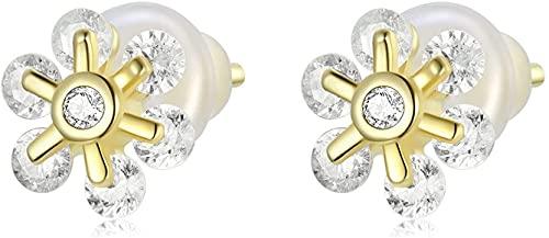 X&Z-XAOY Pendientes De Botón Hipoalergénicos para Mujer S925, Plata Fresca Y Sencilla, Dijes De Flores Chapados En Oro Real, Piercings, Joyería con Caja De Regalo