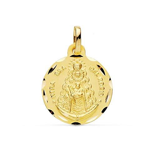 Medalla Oro 9K Virgen Del Rocío 16mm. Lisa Borde Tallado - Personalizable - Grabación Incluida En El Precio