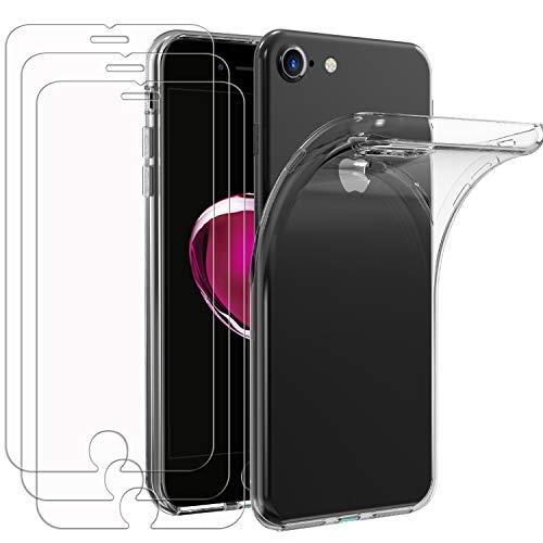 iVoler Custodia Cover per iPhone SE 2020 / iPhone SE 2 / iPhone 8 / iPhone 7 + 3 Pezzi Pellicola in Vetro Temperato, Ultra Sottile Morbido TPU Trasparente Silicone Antiurto Protettiva Case