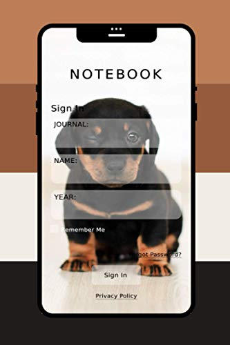 Notebook Journal: Little Happy Puppy Smiling Smartphone Colors Palette Composition 6x9 Lined 112 Pages For School College Office Women Men Teenagers